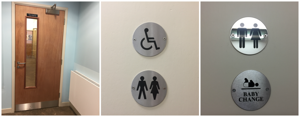 image of door to toilets and toilet door signs