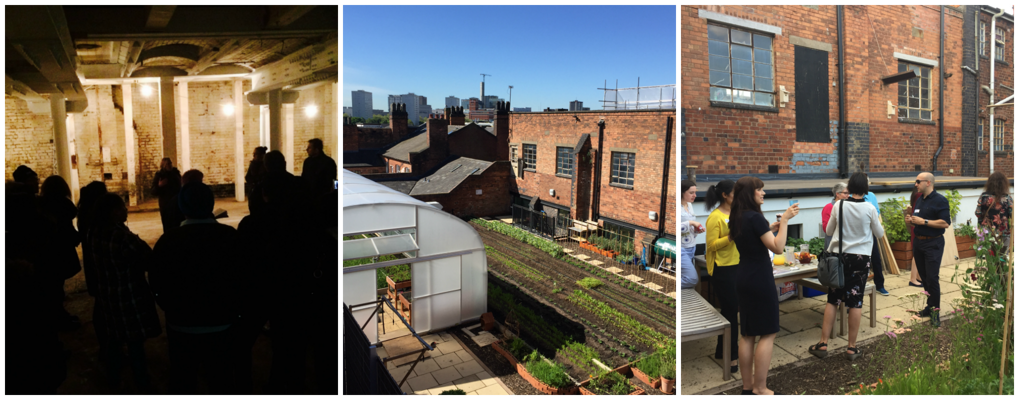 images of rooftop garden and basement tours