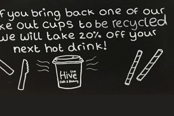 If you bring back one of our take out cups to be recycled we will take 20% off your next hot drink